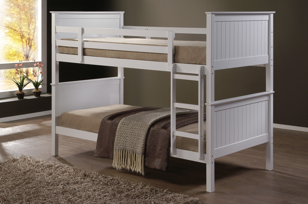 Jade fixed ladder white king single bunk beds nz for Single bunk bed