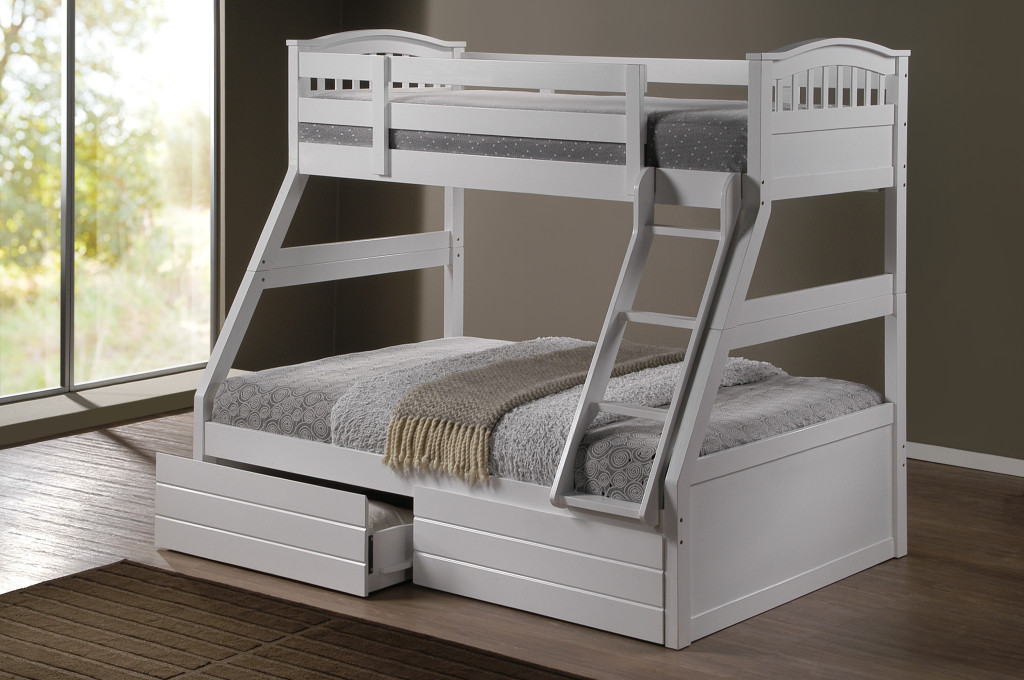 Ashley white duo double single bunk beds with drawers for Single bunk bed
