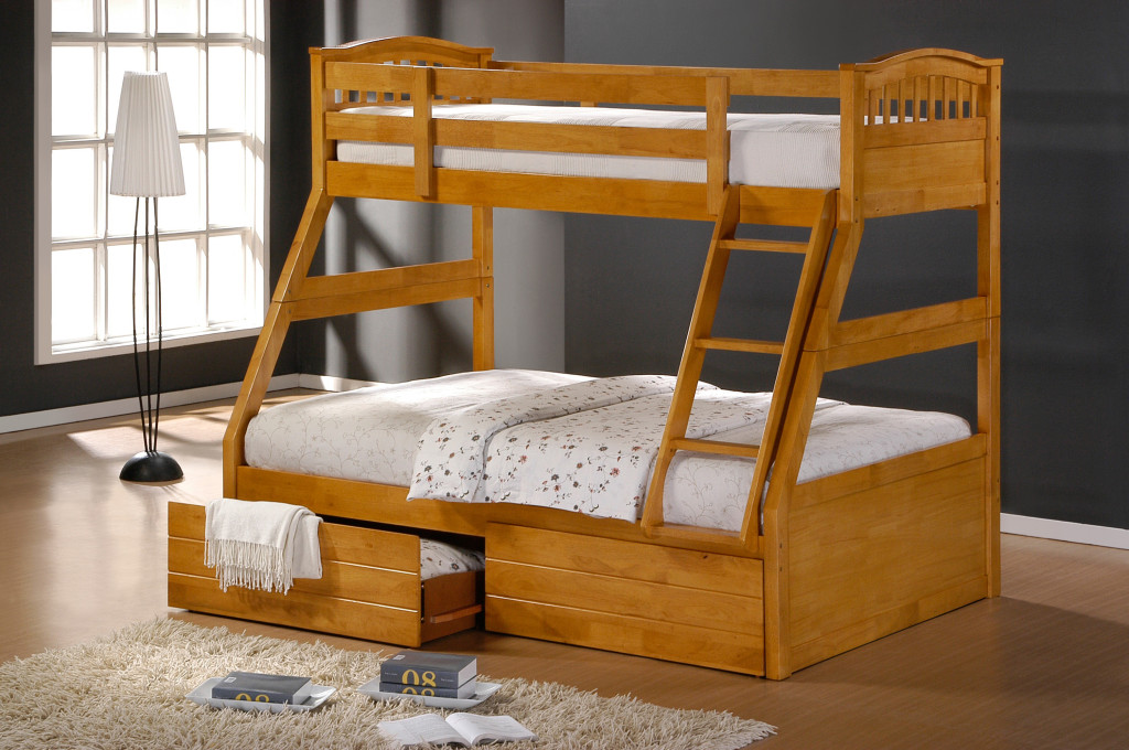 Ashley maple duo double single bunk beds with drawers for Single bunk bed