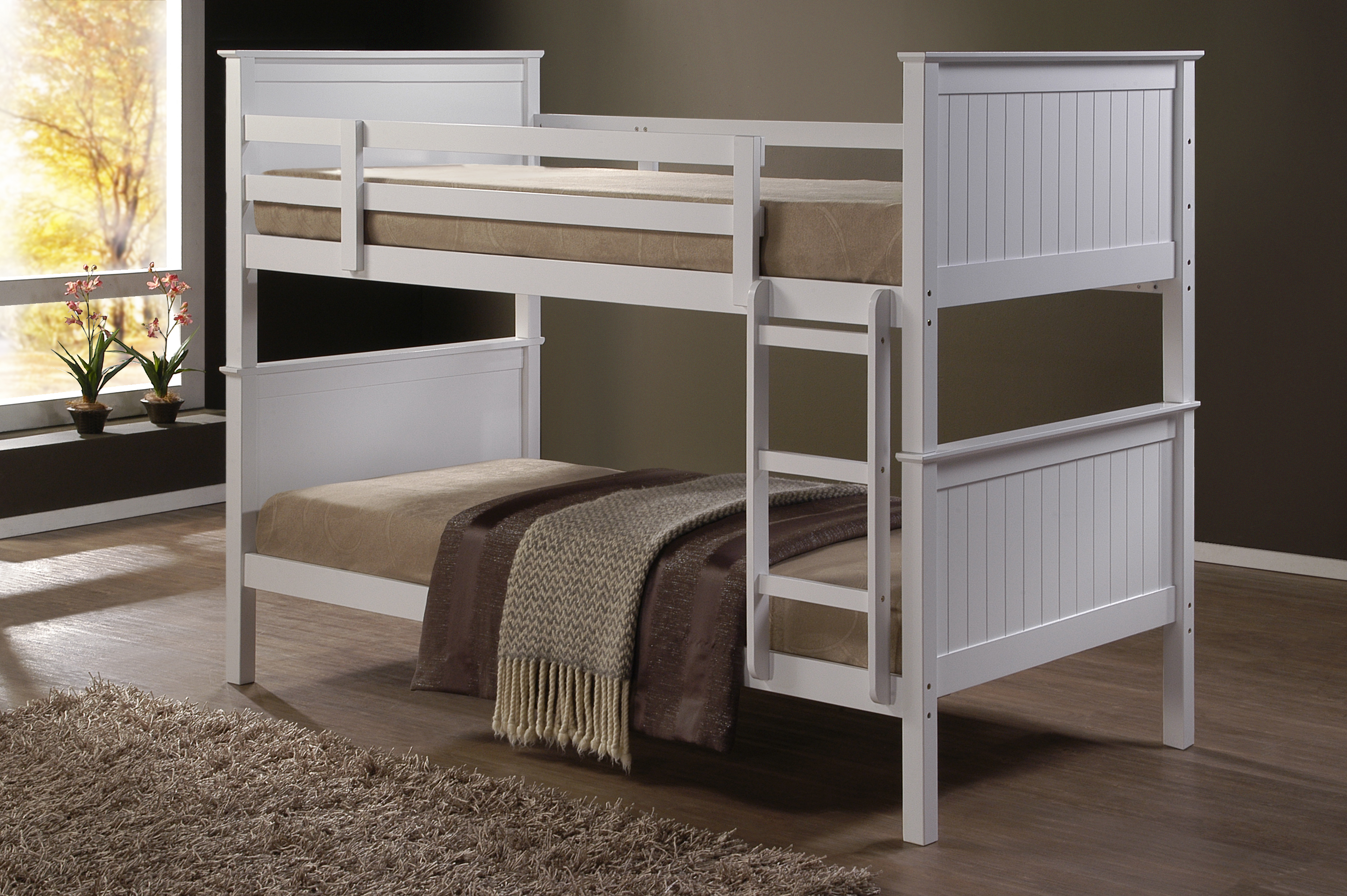 Single Bunk Bed : Jade Fixed Ladder White Single Bunk Beds