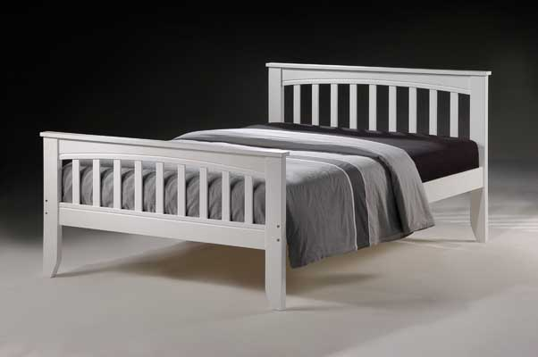 mocha white double bed frame