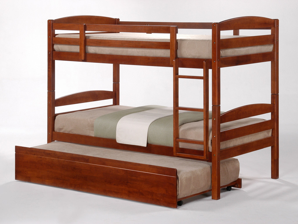 Cosmos Oak Stained Single Bunk Beds With Trundle