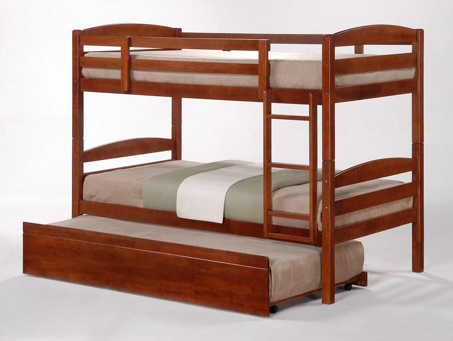 Cosmos oak stained king single bunk beds trundle for Single bunk bed