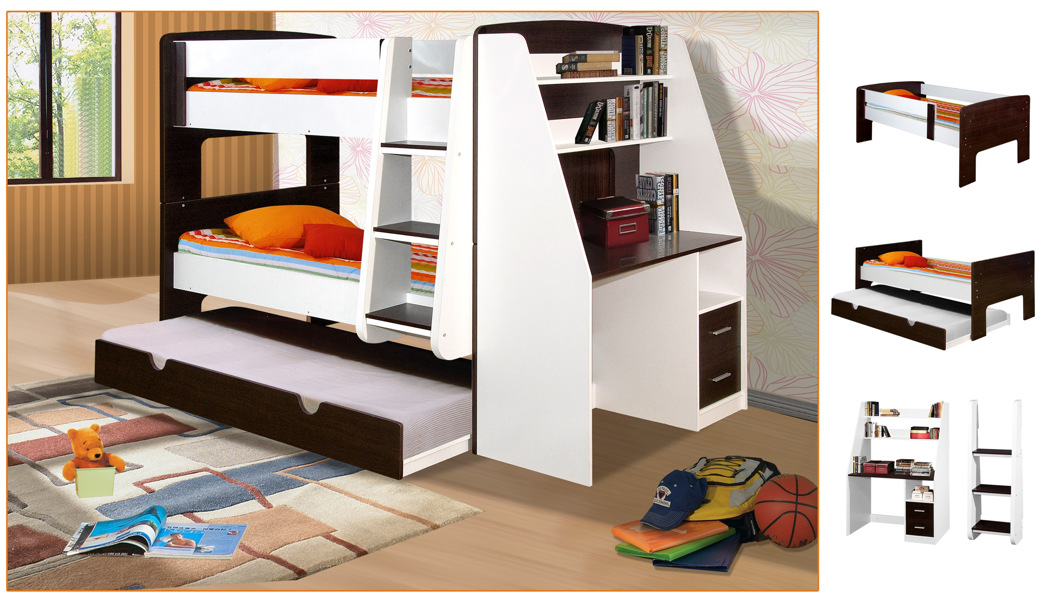 Modern bunk bed with trundle - California Single Bunk Beds With Trundle Bed And Desk