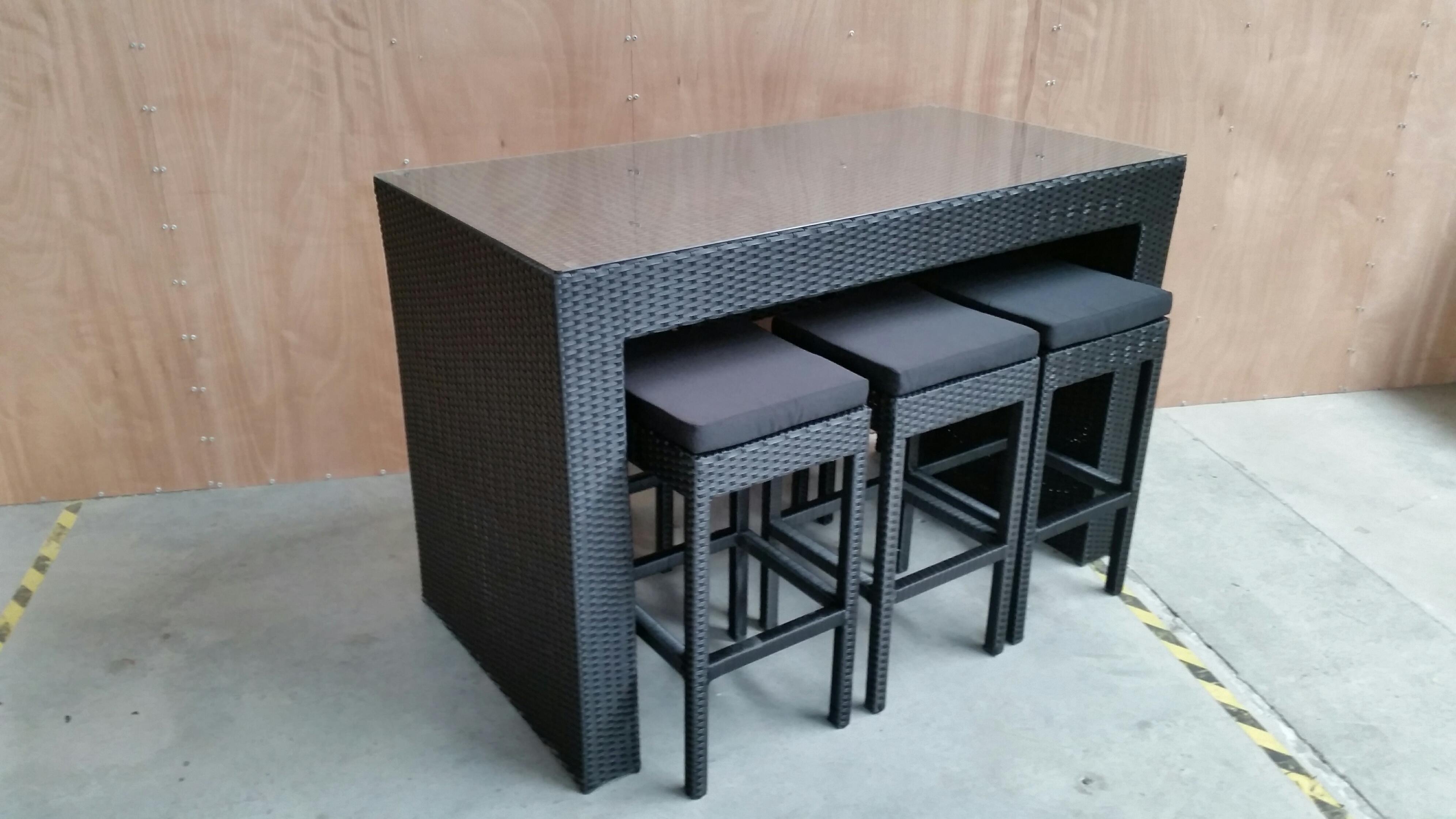 7 Piece Pe Rattan Bar Leaner 6130 Bk Bk