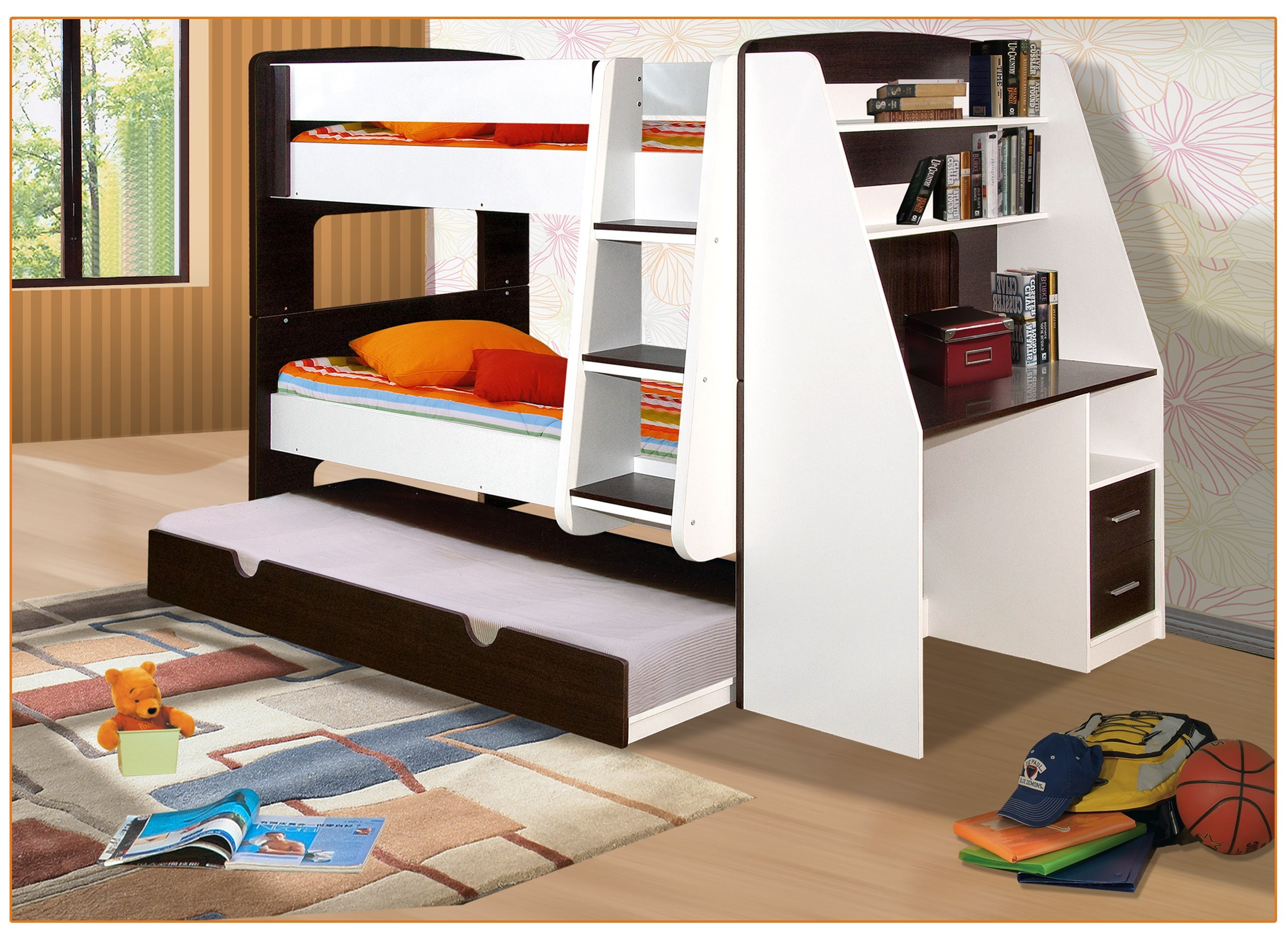 California single bunk beds with trundle bed and desk for Bunk bed with desk