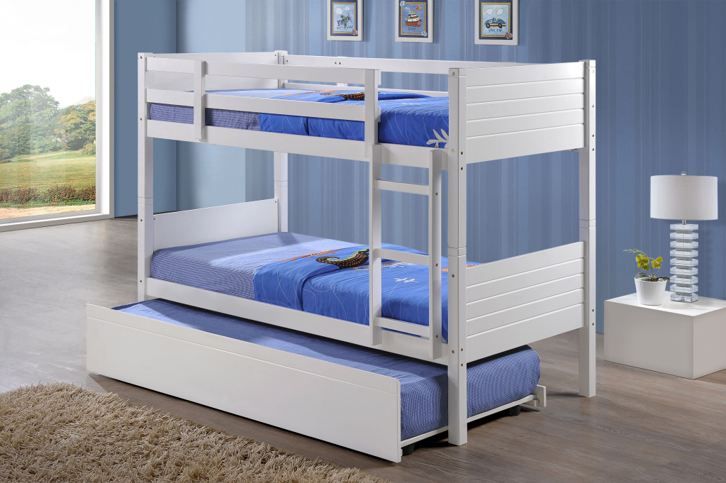 Jupiter white king single bunk beds with trundle bed for Single bunk bed